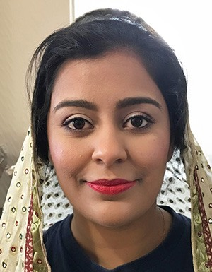 Asian bridal makeup with red lip.