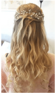 soft waves half up half down wedding hair